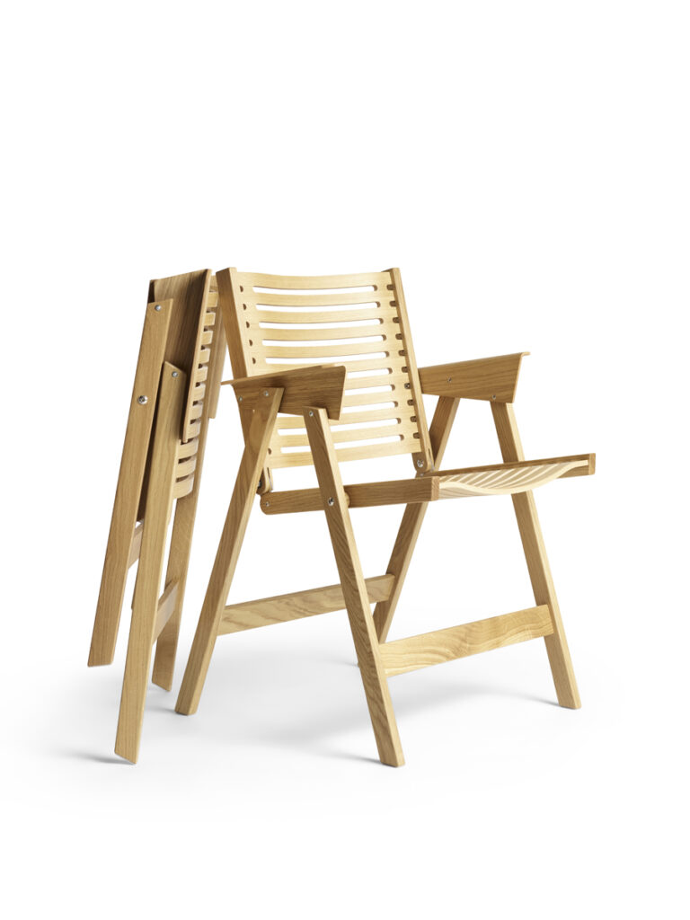 Rex Chair, a foldable dining chair designed by Niko Kralj in 1956.