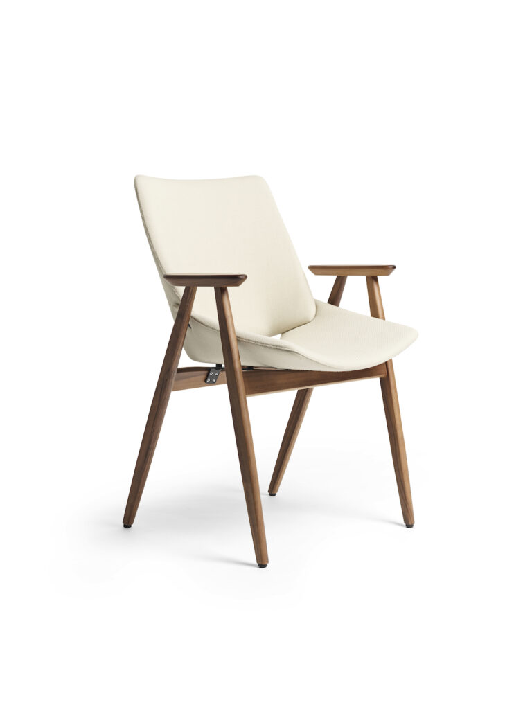 Shell Wood Armchair in natural walnut, with full upholstery in Rohi Novum Angora, by Niko Kralj