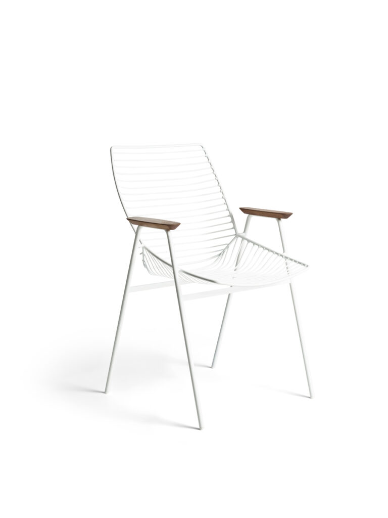 Zelo Armchair in white powdercoat, with acacia armrests. Indoor and outdoor chair, designed by Tom Fereday for Rex Kralj.
